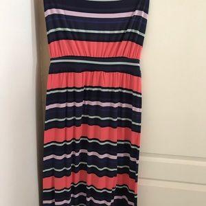 Maxi peach, blue & mint striped halter dress.